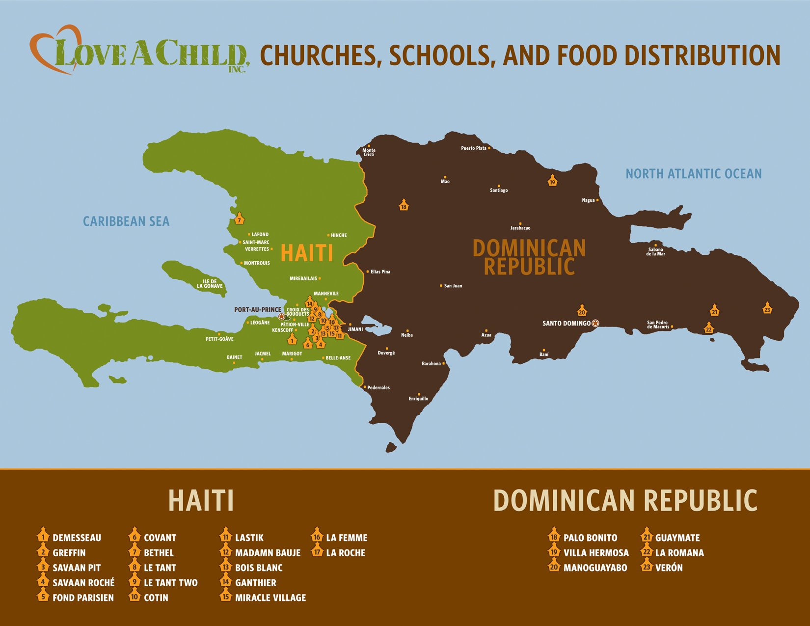 Love A Child's churches and schools in Haiti and the Dominican Republic.