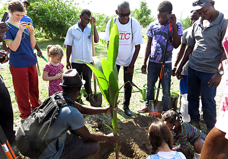 Planting trees in Miracle Village and in Fond Parisien.
