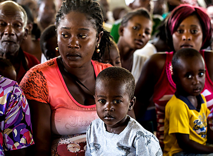Haitian families waiting to see a doctor.