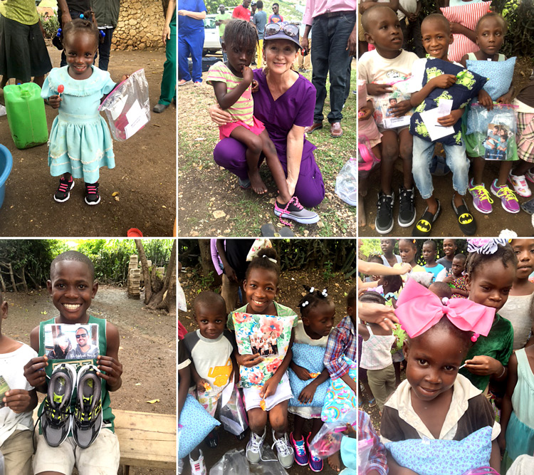 New shoes for the children of Fond Michelle.