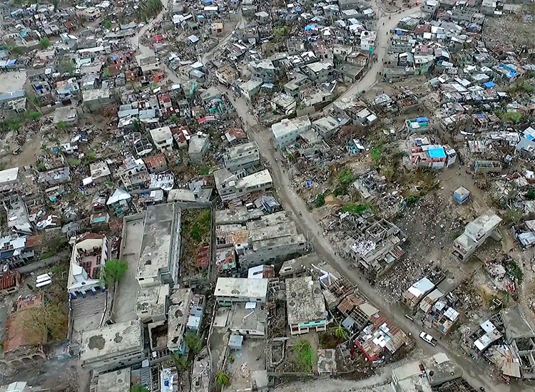 Aerial view of Port Salut, Haiti after Hurricane Matthew