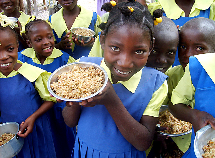 Feeding program for Haitian children in school.