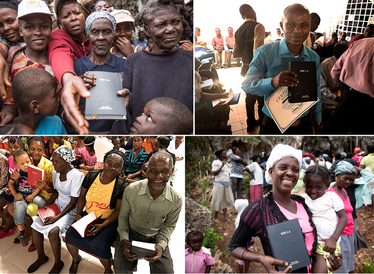 Haitians with donated Bibles