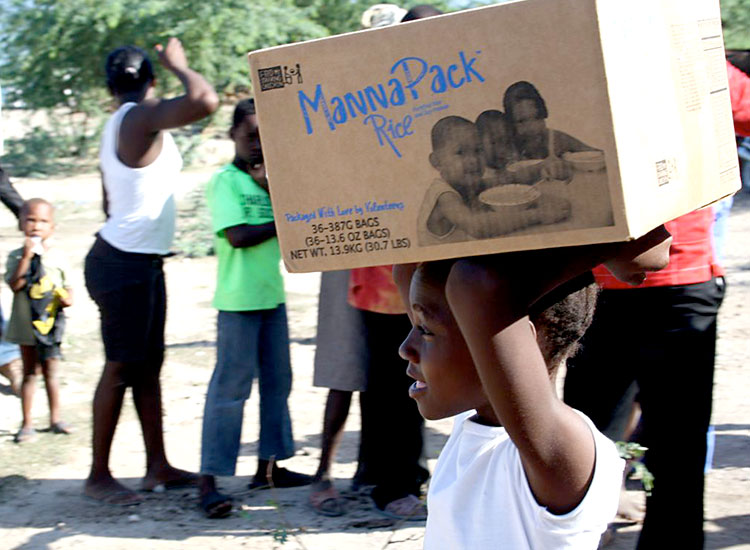Box of food for a poor Haitian family