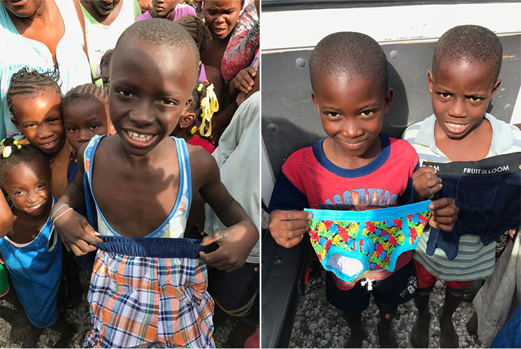 Donation of boys underwear to the poor children in Letant.
