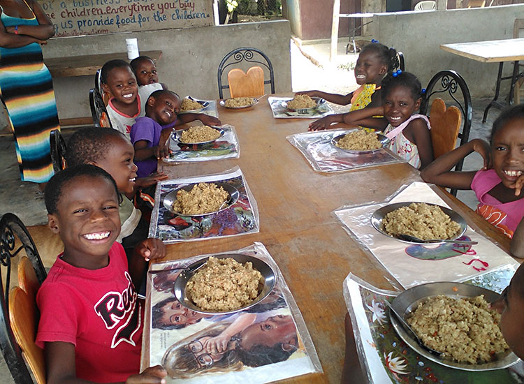 food distribution each month to orphanage