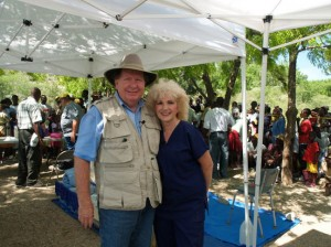 Bobby and Sherry Burnette during a Mobile Medical Clinic held in Haiti.