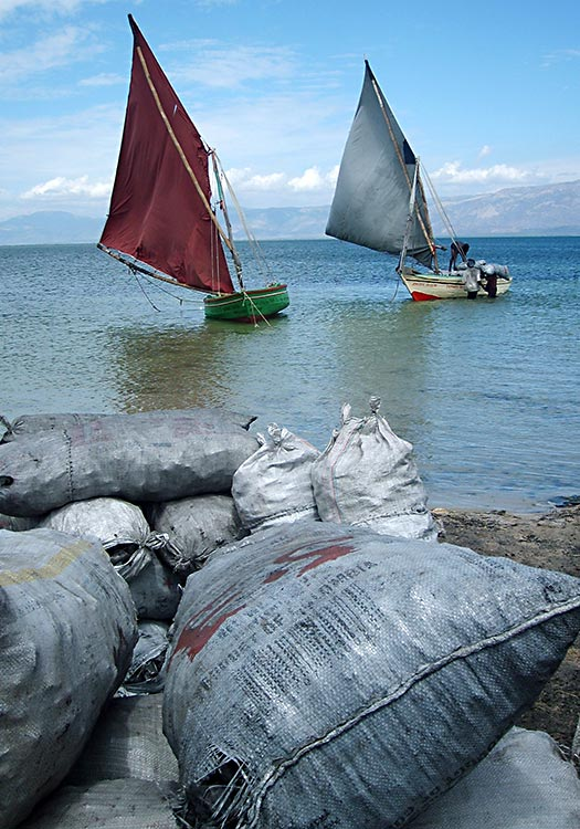 Loading bags of charcoal on sailboats to sell.