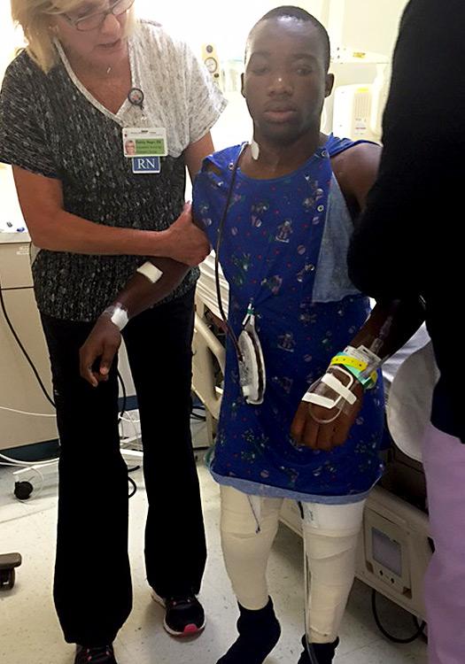 Dieubon after surgery first walk.
