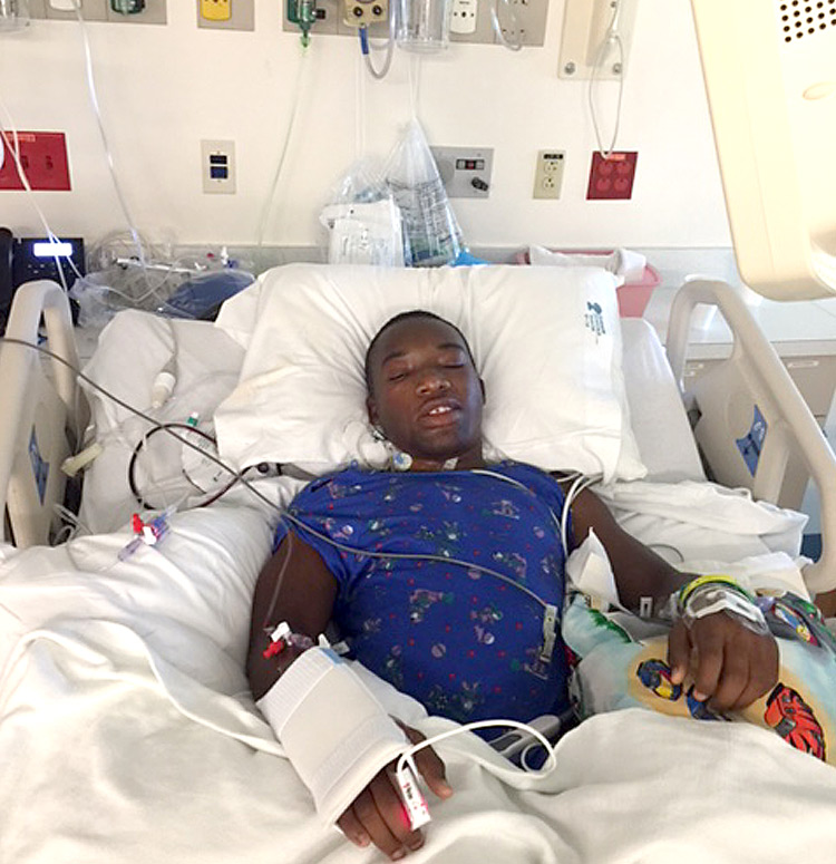 Dieubon post surgery at Shriners Hospital for Children - Tampa.