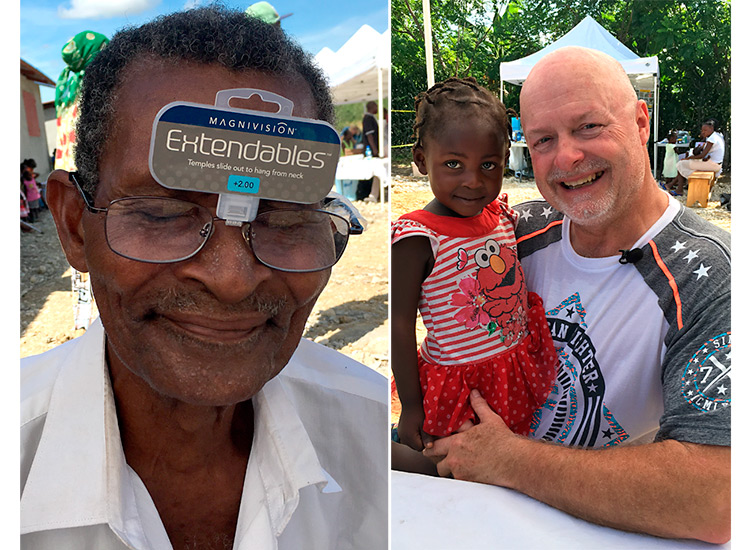 David George holding you Haitian girl while helping with glasses