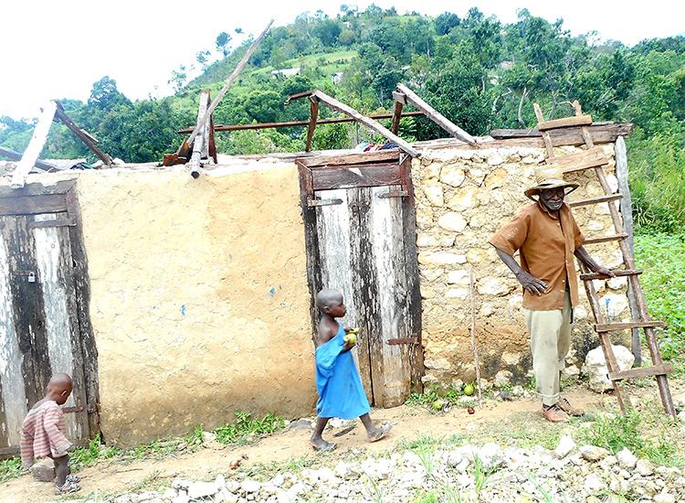Hurricane damage in Peyi Pouri, Haiti