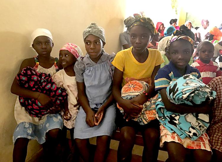 Handmade blankets for poor Haitian children.