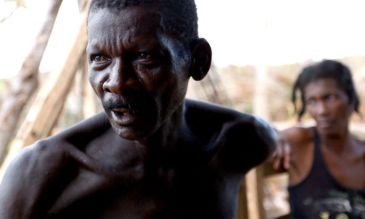 Haitian farmer lost his crops during Hurricane Matthew.