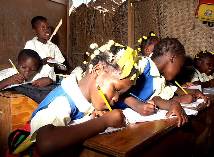 Students working on their school lessons.