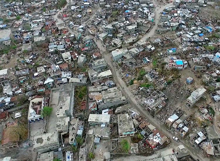 Aerial view of Port Salut, Haiti after Hurricane Matthew