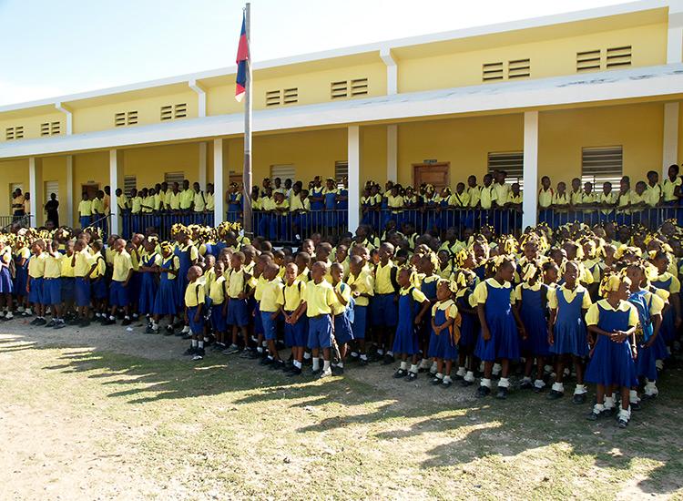 Schoolchildren at Fond Parisien school in Haiti.