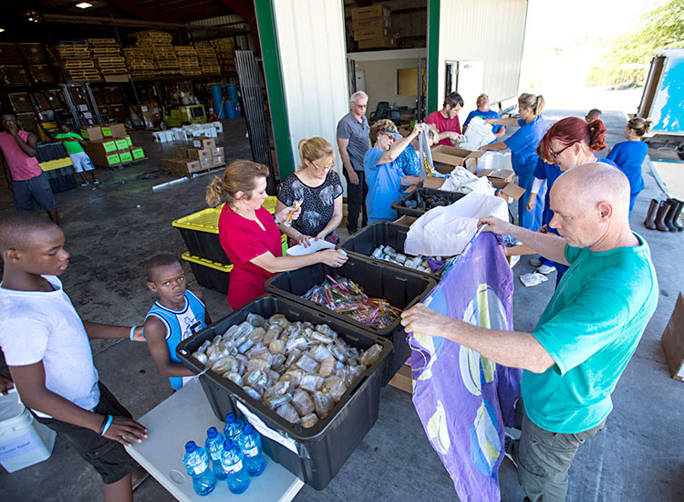 2016 Year in Review - Packing disaster relief supplies in Haiti.