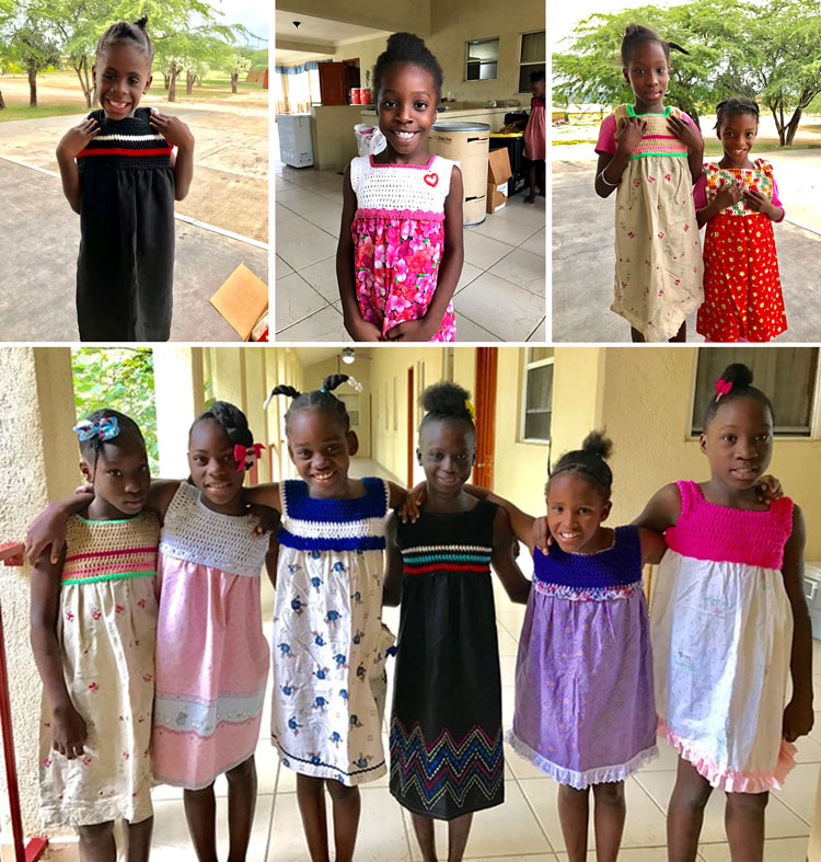 Donations of handmade and hand-crocheted dresses