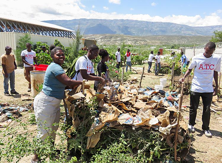 Haitians making a composte pile