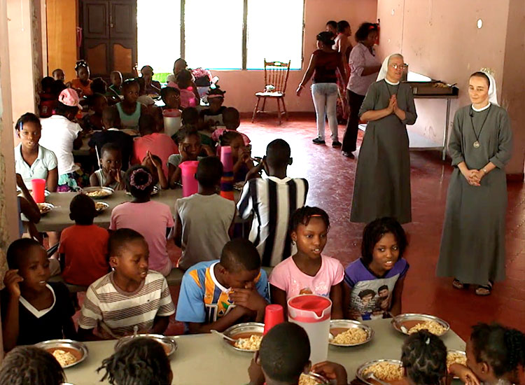 Mission feeding hungry children