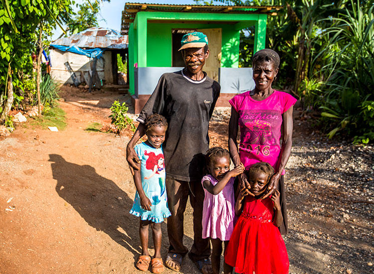 Build and paint all 50 houses for the cave families