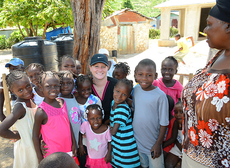 Kaeli loves visiting with Madamn Adeline and her orphan children