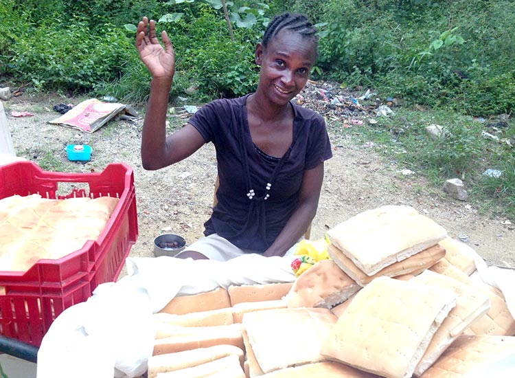 Madamn Suze is making bread to sell.