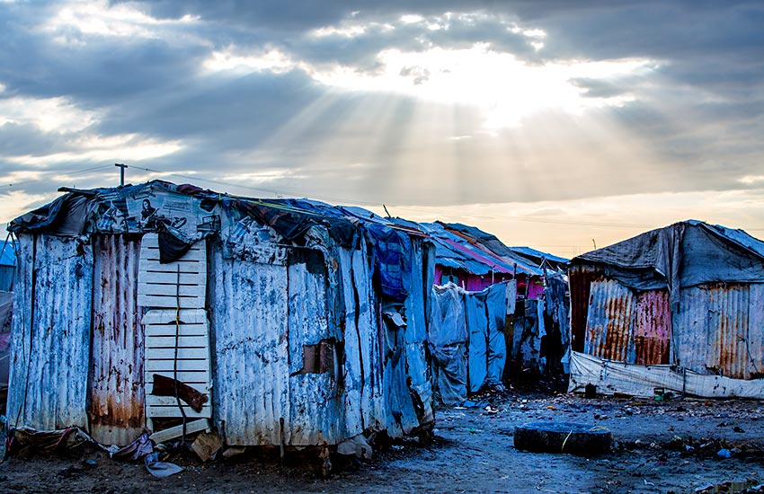 Shacks and tented homes in the garbage dump of Rapatrié.