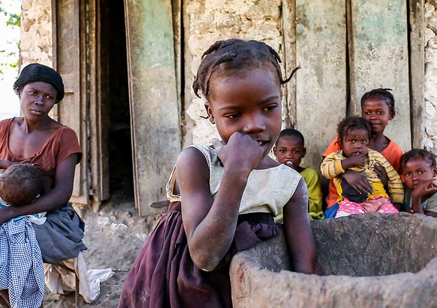 Poor, rural family in Haiti.
