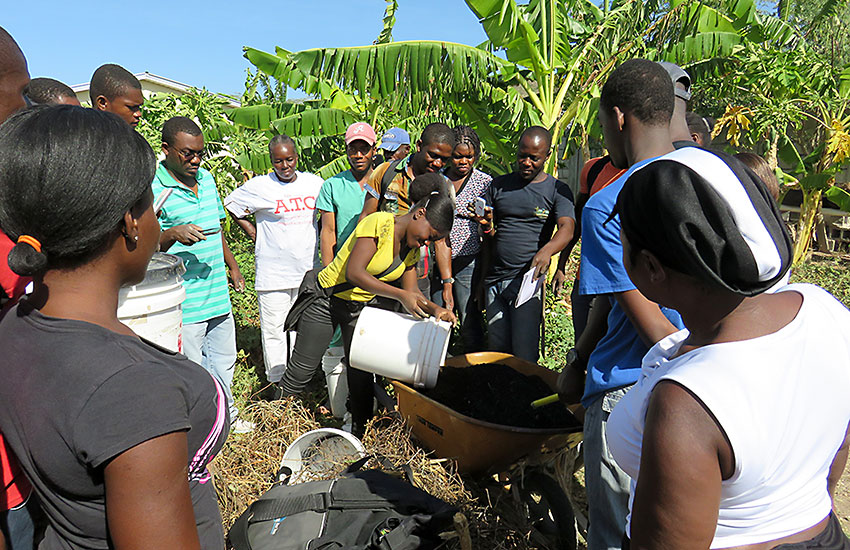 You have to teach them how to improve their soil, teach them about proper irrigation, and give them the tools and skills to grow food.
