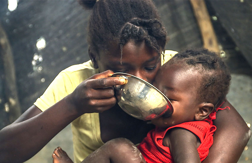 Thousands of poor Haitian children will often not eat any food for several days.