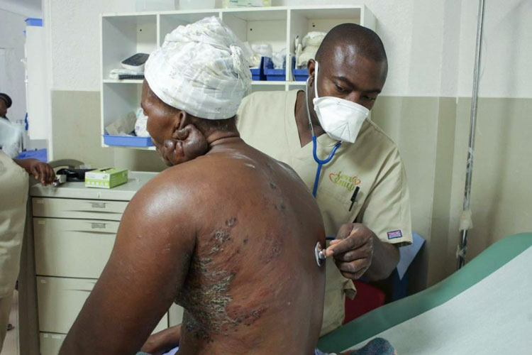 Patient getting examined at the Jesus Healing Center.