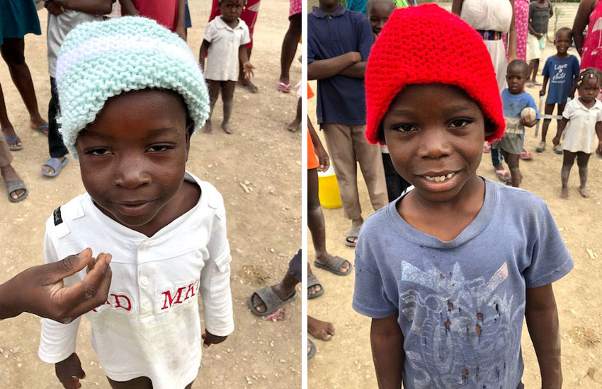 These donated hats will help keep the little children warm during the cold season in Haiti.
