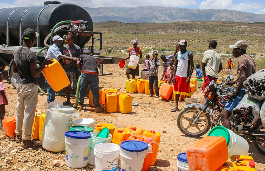 We brought a full water truck to a village that we heard was desperate for water.