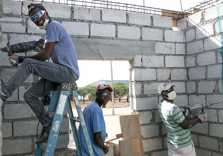 Our Haitian construction crew, with Jean Eddy, have been working nonstop!